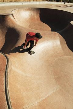 High angle view of man skateboarding on sports ramp