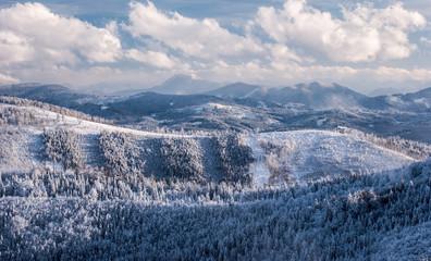 view from Hala na Malej Raczy in winter Beskid Źywiecki mountains in Poland