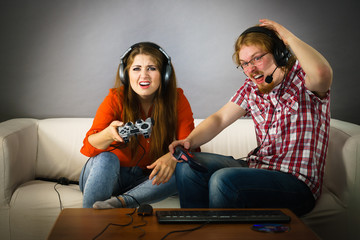 Gaming couple playing games