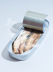 Raw fish in metal can