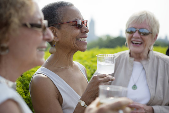 Senior friends having drink