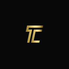 Letter TC Logo Design, Minimal Letter T C Logo Design Using Letters T and C in Gold and Black Color