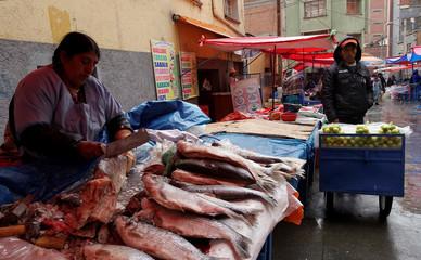 A woman sells  fish in a market in La Paz