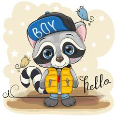 Cute Cartoon Raccoon in a yellow waistcoat
