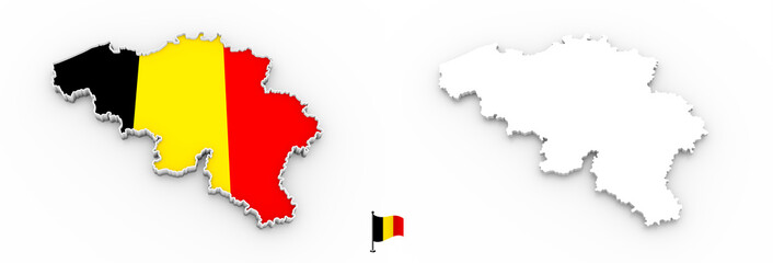 3D map of Belgium white silhouette and flag