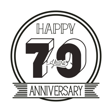 number 70 for anniversary celebration card icon