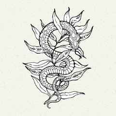 Illustration with snake on a branch. Tattoo Style