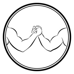 Arm wrestling competition. Isolated round logo outline vector illustration on white background.