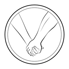 Holding hands of a love couple. Isolated round logo outline vector illustration on white background.