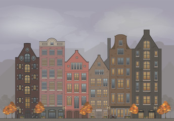 Illustration of old european town. Cute houses. City autumn landscape.