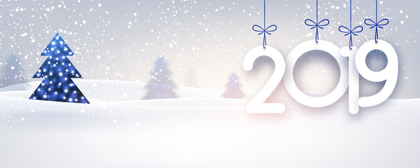 Blue 2019 New Year background with winter landscape.