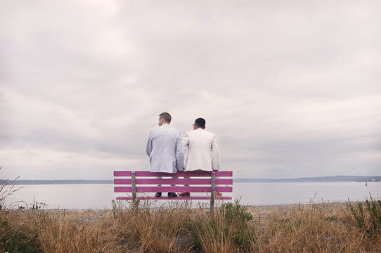 Rear view of couple sitting on pink bench at beach