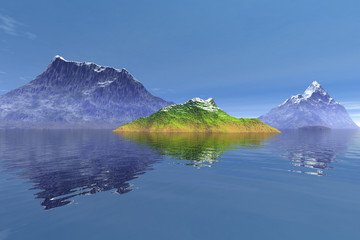 Snowy mountains, an alpine landscape, reflection on water and a blue sky.