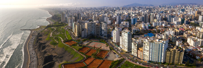 aerial view of Miraflores town in Lima, Peru. Wall mural