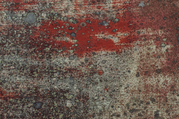 Old red painted door with lichen