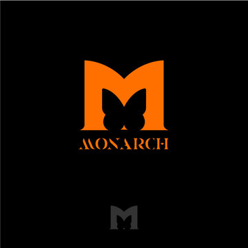 M letter. Orange letter M with butterfly silhouette. Monarch butterfly lettering, isolated on a dark background. Monochrome option.
