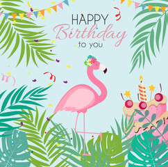 Birthday Card, Congratulation Template Vector Illustration