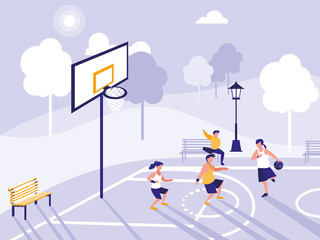 people playing on basketball field
