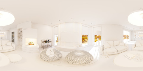 Privat house in modern style. 3d illustration spherical 360 degrees, seamless panorama of living room and kitchen interior design. Rendered picture