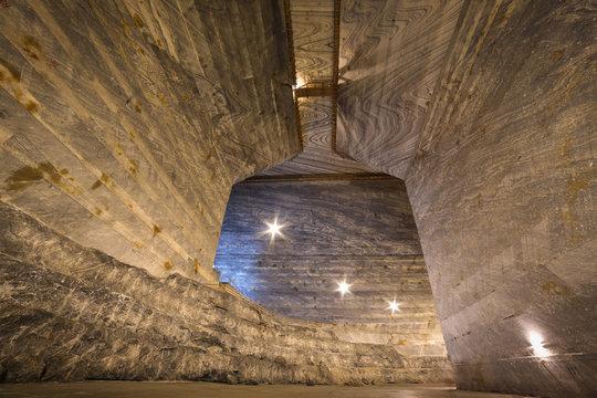 Interior of empty Unirea salt mine, Prahova, Romania