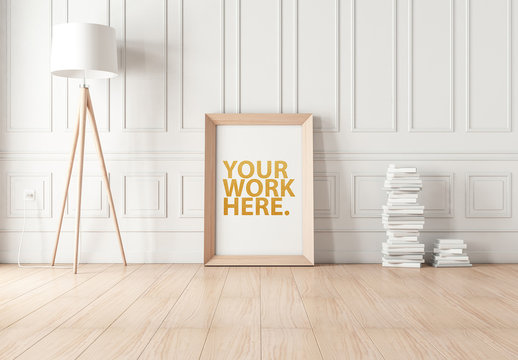 Wood Framed Poster on Wooden Floor Mockup