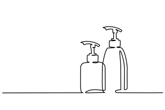 Continuous one line drawing. Cosmetic shampoo bottles. Vector illustration