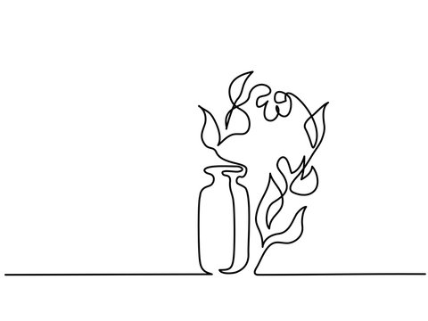 Continuous one line drawing. Cosmetic aromatherapy bottle and flowers. Vector illustration