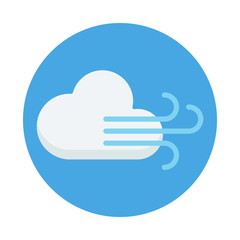 Cloud and wind flat icon isolated on blue background. Cloud and wind sign symbol in flat style. Weather forecast element Vector illustration for web and mobile design.