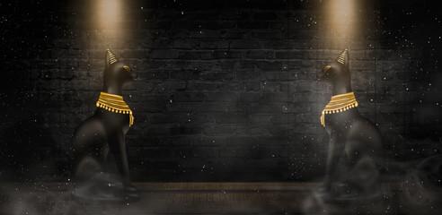 Egyptian asbstract background, goddess of Egypt Bastet, abstract neon bokeh background, rays