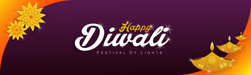 Diwali festival holiday design with gold and paper cut style of Indian Rangoli. purple color background. Vector illustration.