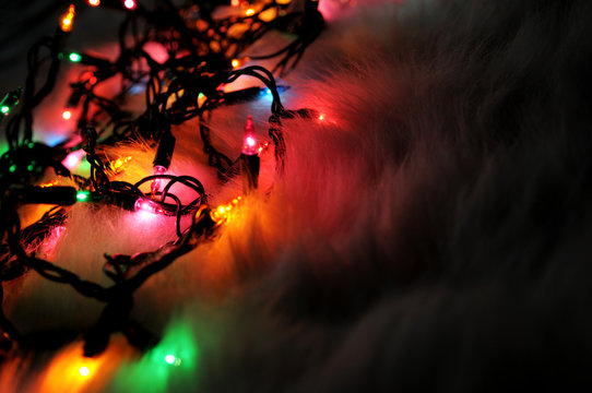 Christmas Lights in the Dark on Fluffy Background