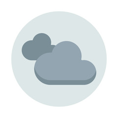 Clouds flat icon isolated on blue background. Clouds sign symbol in flat style. Overcast element Vector illustration for web and mobile design.