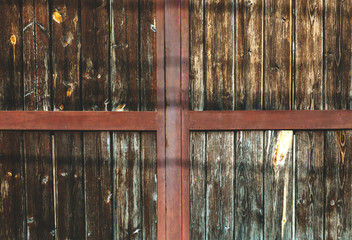 Brown wooden pannels backgroubg. Retro gate background.