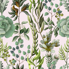 Seamless pattern with eucalyptus, magnolia, fern leaves and succulents. Trendy rustic herb vector background.