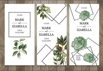 Wedding invitation with leaves, succulent  on wooden background. Eucalyptus, magnolia, fern and other  vector illustration.