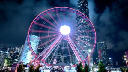 Fotomurales - hyper lapse, Observation Wheel, Hong Kong