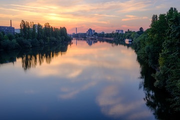 Sunrise over the Main river, Germany