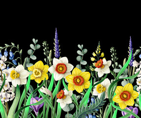 Border with daffodils and wild flowers. Vector.