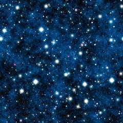 Night sky with blue nebula and stars seamless tiling