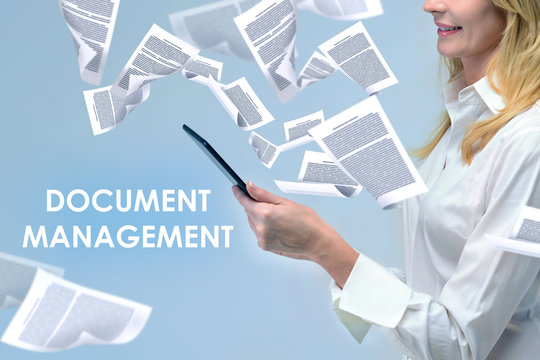 Businesswoman and document management