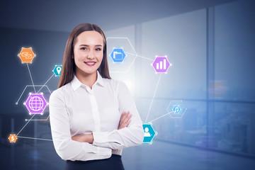 Brunette businesswoman, wifi interface