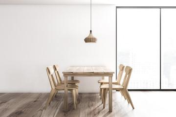 White dining room interior