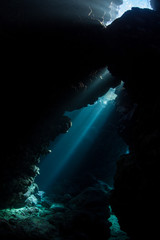 Wall Mural - Underwater Cavern and Beams of Light in Solomon Islands
