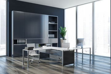 Dark gray ceo office interior