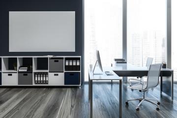 Dark gray loft ceo office interior, poster