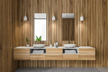 Wooden bathroom interior, double sink