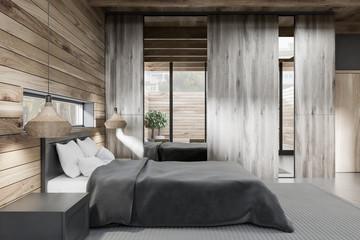 Wooden master bedroom interior side view