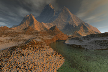 Mountains, a rocky landscape, the absolute desert, a beautiful river and clouds in the sky.