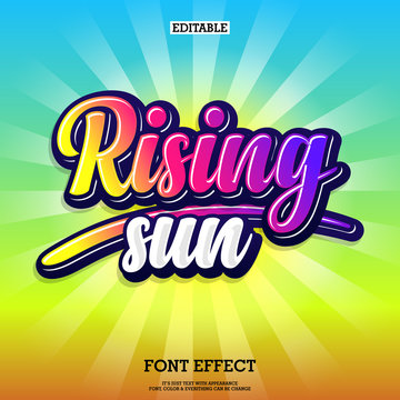 rising sun colorful text effect with sun brust background