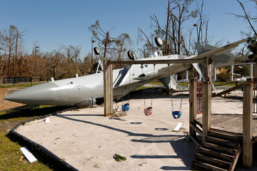 A preserved F-15A Eagle damaged by Hurricane Michael is pictured in Callaway